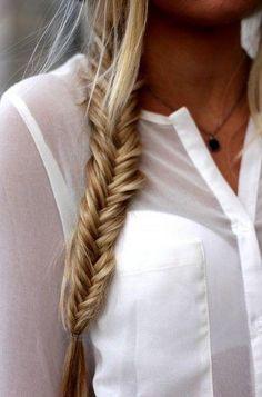 Fishtail ||  Coiffure en queue de poisson pour les mi-longs et les cheveux longs   http://www.pinterest.com/adisavoiaditrev/