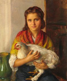 """Portuguese artist Henrique Medina """"The girl with the white Chicken"""" 1848"""