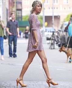 Leggy lady: Taylor Swift was spotted leaving her apartment in the Tribeca neighbourhood of...