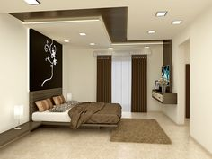 Stunning Master Bedroom Design With Simple And Elegant CNC Cutting  Headboard. #bonito.in