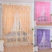Wish | Fashion Full Sunflowers Printed Curtains Window Screening for Living Room Sheer Tulle for Bedroom Wear Rod