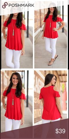 """⚡️PRICE DROP⚡️Red Tunic Red Cold Shoulder Tunic, 95% Rayon, 5% Spandex. True red color. BUST: 21"""" LENGTH: 33"""" Tops Tunics"""