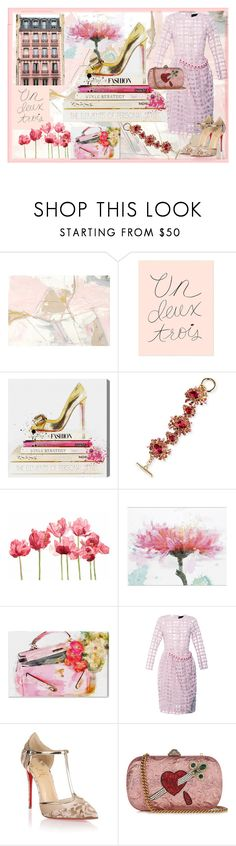 """""""Styled Pink"""" by boutiquebrowser ❤ liked on Polyvore featuring Rifle Paper Co, Oliver Gal Artist Co., Oscar de la Renta, Schick, Christian Louboutin and Gucci"""