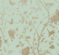 Thibaut Liang Aqua with Metallic Gold Aqua / Gold Wallpaper main image