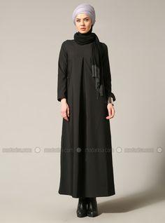 Önü Pileli Elbise - Siyah - Modgrey