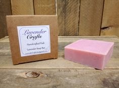This is my gorgeous handmade pink Lavender scented soap. It is made in small batches using the cold process method of soap making. They are individually cut and then cured for 6 weeks to create the finished bar of soap.  #HandmadeInMyKitchen #ForTheLoveOfLavender #LavenderCraftsKilcoole #LavenderCrafts #HandmadeInKilcoole #AllNaturalIngredients #EcoFriendly #PalmOilFree