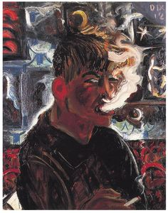 "huariqueje: "" Self-portrait as Smoker - Otto Dix , German, 1891 – 1969 oil on paper, x 56 cm "" Ludwig Meidner, Max Beckmann, George Grosz, Degenerate Art, Art Moderne, Wassily Kandinsky, Portrait Art, Otto Dix, Paintings"
