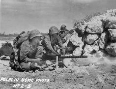 US Marine M1919 Browning machine gun crew Peleliu Palau Islands 1944.