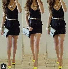love the bright heels with the black dress and gold necklace