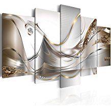 Impression sur toile 100x50 cm - 3 couleurs au choix– 5 pieces - Image sur toile – Images – Photo – Tableau - motif moderne - Décoration - pret a accrocher - abstraction abstrait fleurs a-A-0004-b-o 100x50 cm