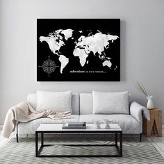 This custom map is so sleek and a great way to decorate a room! What do you guys think? #map #etsy #etsyseller #art #travel #home #homedecor #decor #livingroom #worldmap #mapprint #wanderlust #markyourtravels #travel #travels #instagood #artwork #graphicd