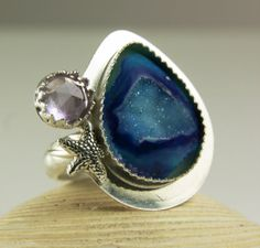Checkout this amazing product Sterling Silver Druzy Ring, Purple Amethyst, Starfish, Double Stone Ring, Handmade Jewelry-made to order in your size at Shopintoit