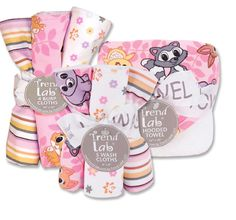 Lola fox assorted cute prints on one side and terry on the other. 3 piece set includes hooded towel, 5 wash cloths and 4 burp cloths.      Hooded towel measures 30 x 32   Wash cloths are 8 x 8   Burp cloths are 10 x 13      Stock up and save with more than one bouquet set with our Twins  discount
