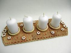 Keramický adventní svícen / Zboží prodejce Líísteček | Fler.cz Ceramic Studio, Ceramic Art, Ceramic Christmas Decorations, Pottery Handbuilding, Clay Projects, Tea Light Holder, Clay Creations, Christmas Inspiration, Pillar Candles