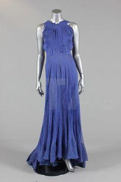A royal blue chiffon couture evening gown, circa 1935