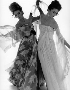 Model on left in evening dress by Sarmi and Dorothea McGowan on right in gown by Scaasi, photo by Bert Stern, Vogue Feb. 1, 1961 | Sophia via Flickr