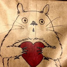 Totoro has a Valentine!  #totoro #myneighbortotoro #lunchnotes #lunchbag #fanart #sharpieart #doodles by coldrok