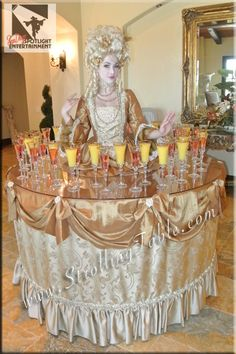 The Strolling Table. Saw this at the LA Zoo Fundraiser (african themed) and it delighted everybody Kids Party Decorations, Wedding Reception Decorations, Party Themes, Party Ideas, Champagne Party, Champagne Dress, Halloween Buffet Table, Debut Party, Baby Girl First Birthday