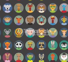 Seamless pattern animals faces circle icons set in Trendy Flat Style. zoo infographics design. Vector illustration