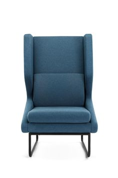 Modern, stylish lounging chair for a corporate office space or for a hotel room. Powdercoated, formed steel tube leg frame supports upholstered moulded foam seat.  #moderninteriordesign  #interiordesign