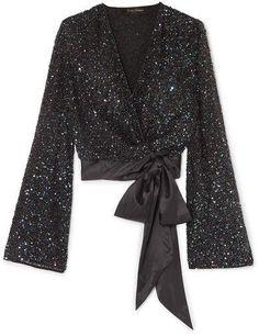 Black sequined chiffon and silk-satin Ties at side viscose; Muslim Fashion, Hijab Fashion, Fashion Dresses, Jenny Packham, Gala Dresses, Elegant Outfit, Silk Satin, Blouse Designs, Dress To Impress