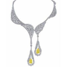 The Cascade necklace by Larry Jewelry, is delicately handcrafted with 18K white #gold and brilliant round #diamonds and 2 pear shaped #yellow diamonds. #larryjewelry #jewelry #gems #colors #masterpiece #quality #craftmanship #sparkle #glamorous #design #art #luxury #exquisite