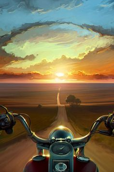 """This morning on my way to work, it felt like this. """"Amon Amarth - Embrace of the endless ocean"""" playing through my headphones, and the the sunrise. I love being a biker."""