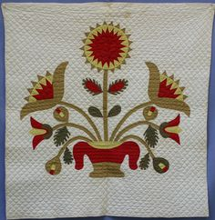 """Appliqued Crib Quilt, Landis Family, Manheim area, Lancaster County Pa., Mid 19th c., 33"""" x 35"""", The Herrs Antiques"""