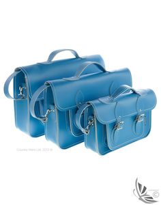 Zatchels Leather Satchel - Pastel Cornflower Blue | Country Attire