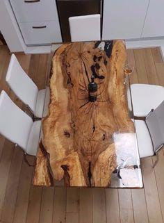 Unique 6 person epoxy resin table