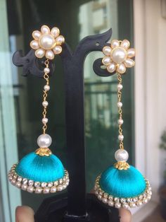 Blue colour silk thread jumka with long pearl chain and pachi studs combination