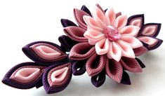 Kanzashi fabric flower french barrette. Pink and plum. by JuLVa
