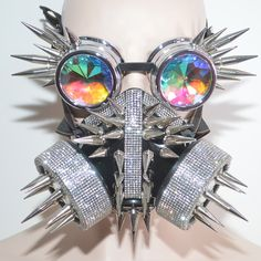 Burning Man Steampunk Goth Face Mask Goggle, Holographic Rhinestone Gas Mask Goggle,Dust Spikes Mask Goggle,Festival Cosplay Gas Mask Goggle by PinknewlookStore on Etsy Pretty Knives, Pastel Punk, Cool Masks, Cybergoth, Mask Design, Design Art, Design Ideas, Cosplay Outfits, Character Outfits