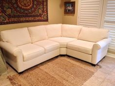 Pottery Barn Buchanan Roll Arm Upholstered Curved 3-Piece Sectional with wedge. Cream colored twill fabric. in Dallas, TX (sells for $1,500)