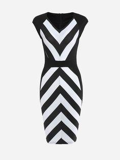 V Neck Dacron Color Block Stripes Bodycon Dress