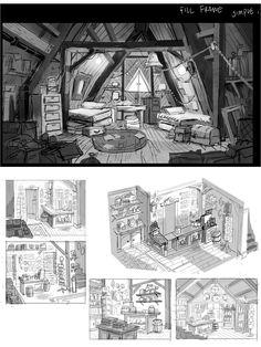 Resultado de imagen de concept art log cabin background disney