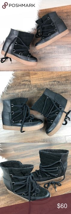 Steve Madden Black Leather Fur Lined Ankle Boot Steve Madden Black Leather Lace Up Fur Lined Rubber Sole Ankle Boots.  Warm/Winter Boots.  NWOT. Steve Madden Shoes Winter & Rain Boots