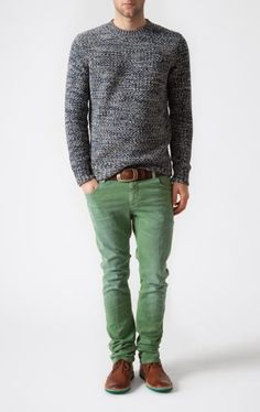This combination of a grey crew-neck jumper and green jeans is perfect for off-duty occasions. Why not introduce brown leather derby shoes to the mix for an added touch of style?   Shop this look on Lookastic: https://lookastic.com/men/looks/grey-crew-neck-sweater-green-jeans-brown-derby-shoes-brown-belt/10739   — Grey Crew-neck Sweater  — Brown Leather Belt  — Green Jeans  — Brown Leather Derby Shoes