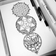 from @mi_li3_art - Working on a new sacred geometry tattoo commission on this…