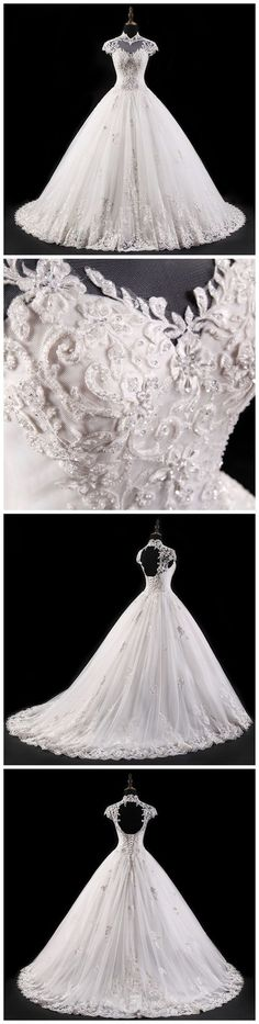 GORGEOUS WEDDING DRESS,2018 WEDDING DRESS,LACE WEDDING DRESSES,FLOWERS WEDDING DRESS, BACKLESS WEDDING DRESS,TULLE BRIDAL GOWN DRESSES AM723 #fashion #wedding #beauty #chic #love #bridal #weddingdress #ballgown #amyprom #white #lace