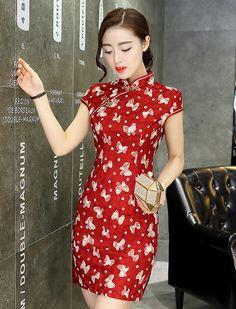 ff144a822 Butterfly Yarn Cotton Modern Vintage Daily Cheongsam,Qipao. Cheongsam  DressSpecial DressesShort ...