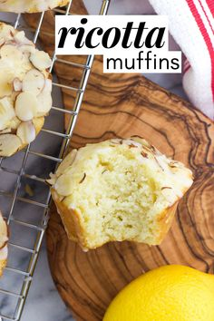 Lemon ricotta muffins are spongy, moist, and flavored with a burst of fresh lemon and almond extract. This easy muffin recipe is delicious as-is or when topped with almond glaze. Grapefruit Recipes, Lemon Recipes, Baking Recipes, Dessert Recipes, Muffin Recipes, Easy Recipes, Breakfast Recipes, Lemon Ricotta Recipe, Ricotta Recipes Healthy