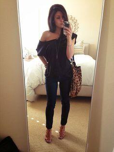 Spring Outfit - Off Shoulder Top - Skinny Jeans - Sandal Heels - Leopard Bag