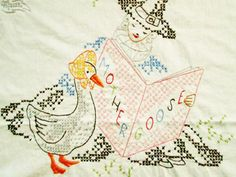 Vintage Cross Stitch Embroidered Crib Baby by LovelyOldLinens, $49.95