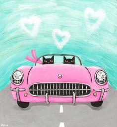 Valentine Road Trip Original Cat Folk Art by KilkennycatArt