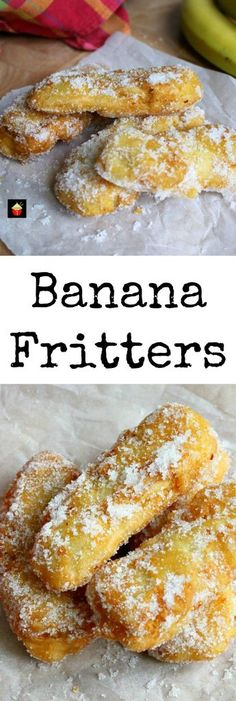 Banana Fritters. These are a lovely crispy treat, serve warm as they are or with some syrup drizzled over or a blob of ice cream! A great way to use up the odd banana too! Really quick and easy to make.   Lovefoodies.com