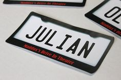 Drive in movie birthday party - (10) license plate decals for cardboard cars, kids movie night party