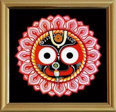 Face of Lord Jagannath - Print on Laminated Board - Framed Table Top (Print on Laminated Board - Framed) Kerala Mural Painting, Indian Art Paintings, Modern Art Paintings, Shiva Art, Krishna Art, Hindu Art, Madhubani Art, Madhubani Painting, Phad Painting
