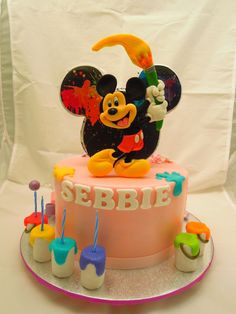 Mickey Mouse painting cake by Sveta_petrova