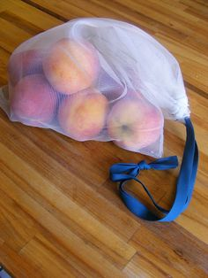 Making your own reusable produce bags, costs less than 10 dollars to make 8!
